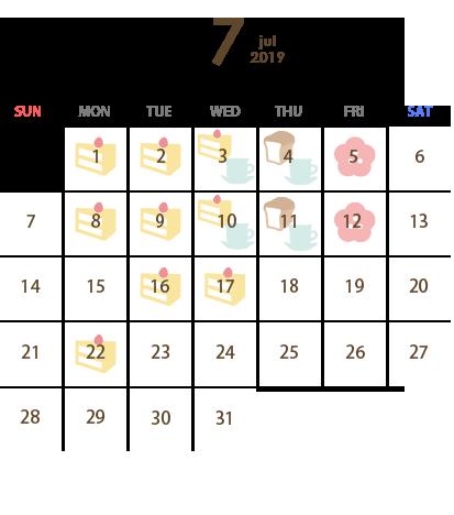 T's Miyabi(ティーズ ミヤビ)営業カレンダー7月