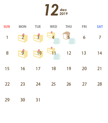 T's Miyabi(ティーズ ミヤビ)営業カレンダー12月