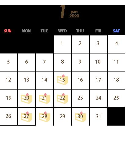 T's Miyabi(ティーズ ミヤビ)営業カレンダー1月